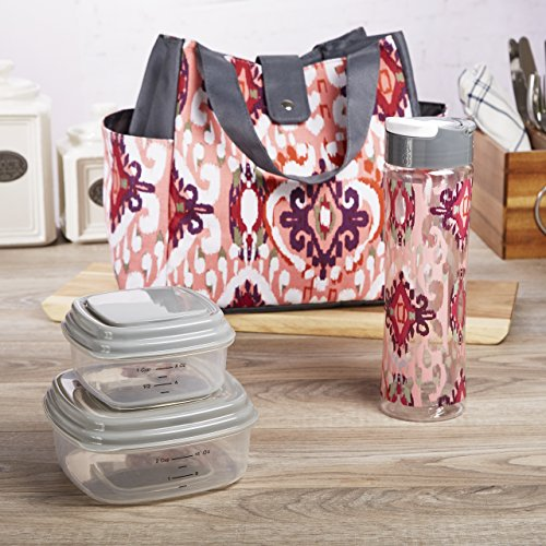 Fit & Fresh Westport Insulated Lunch Bag Kit for Women with Reusable Container Set, Matching 20 oz. Tritan Water Bottle and Ice Pack, Coral Painted Ikat