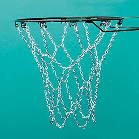 One size Sure Shot  Heavy-Duty Chain Basketball Net-White Silver
