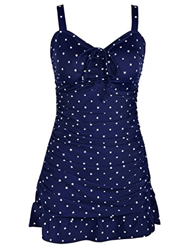 Septangle Women's Swimdress One Piece Ruffled Hem Tummy Control Bathing Suits (Navy Blue,US 14) -