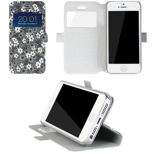JAVOedge Tiny Flower Book Case for the Apple iPhone 5 / 5s (Grey)