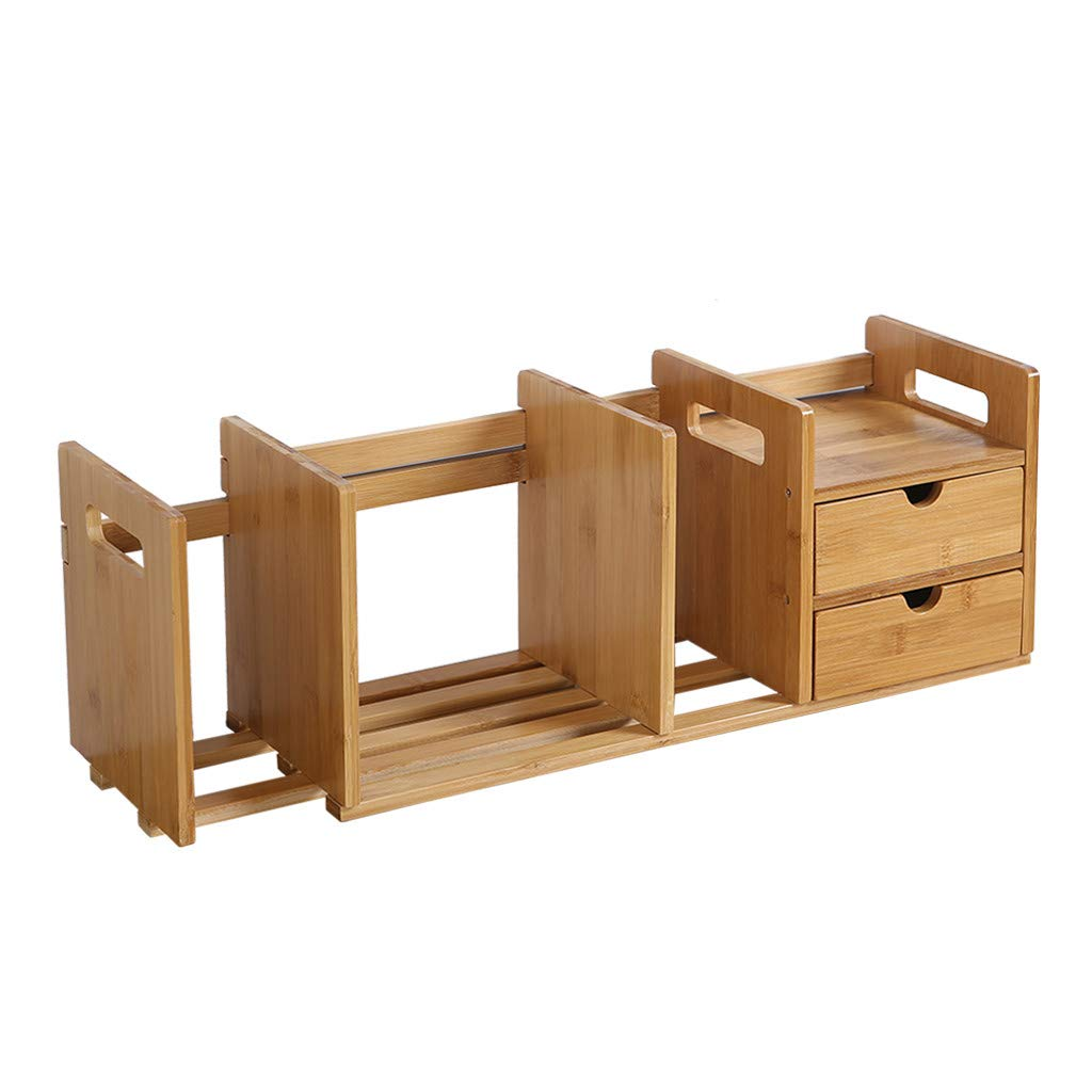 Agelloc 2-Drawer Natural Bamboo Wood Desktop Organizer Free Style Display Stand Shelf Rack Assembled Bookcase Adjustable Display Rack