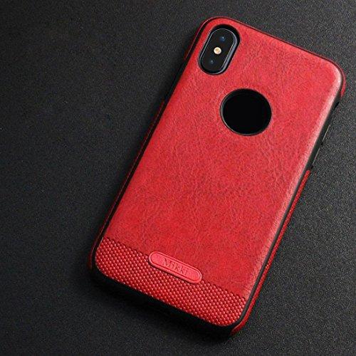 Bescita Schlank Luxus Leder Handyhülle Bumper Cover Schutz Tasche Schale Schutzhülle Ultra Thin TPU Hülle für iPhone X Rot