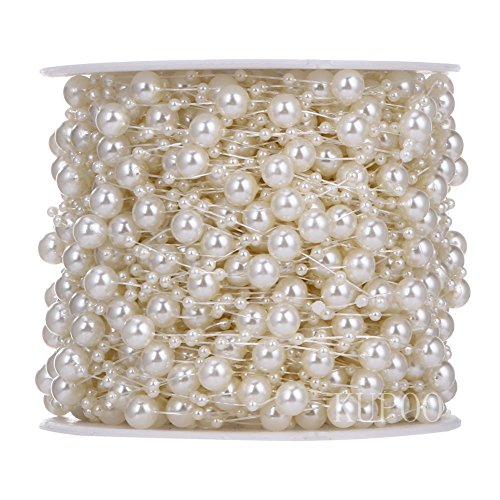 KUPOO 200feet Roll Pearls Beads DIY Party Garland Wedding Centerpieces Bridal Bouquet Crafts Decoration (8+3mm pearls- Ivroy) ()