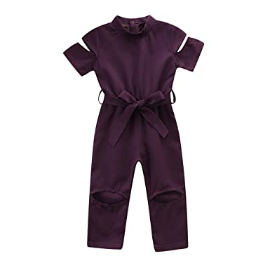 Amazon.com  Lurryly ❤Baby Girl Bodysuit Broken Hole Jumpsuit Playsuit  Outfits Toddler Kids Clothes 1-5T  Clothing 676fc899b