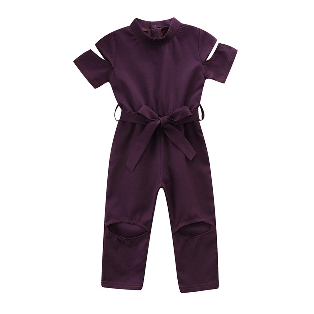 Kids Baby Girl Ultra Silky Broken Hole Jumpsuit, Fashion Beautiful Bowknot Waist Belt Playsuit Outfits (Label Size:130, Purple)