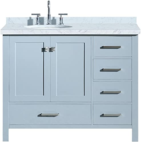 ARIEL Cambridge A043S-L-VO-GRY 43″ Inch Single Left Offset Oval Sink Solid Wood Grey Bathroom Vanity