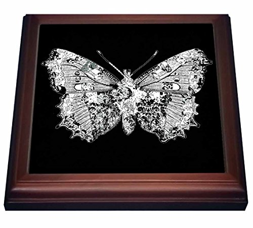 3dRose trv_61053_1 Pretty Lacy White Butterfly On A Black Background Trivet with Ceramic Tile, 8