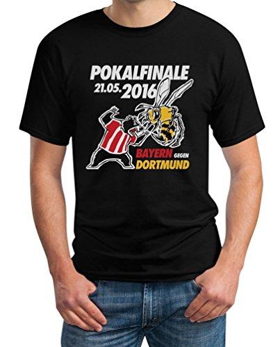 Pokalfinale Fan Shirt Bayern Dortmund Bär gegen Biene T-Shirt XX-Large Schwarz