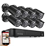 [Upgrade] 720P HD-TVI Household Security Camera System, 8 Channel Security DVR Record and (8) 1280TVL 1.0MP HD Outdoor/Indoor Day and Night CCTV Bullet/Dome Security Camera