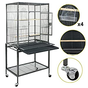 ZENY Bird Cage Wrought Iron 53-Inch Pet Bird CagePlay Top Parrot Cockatiel Cockatoo Parakeet Finches Birdcage