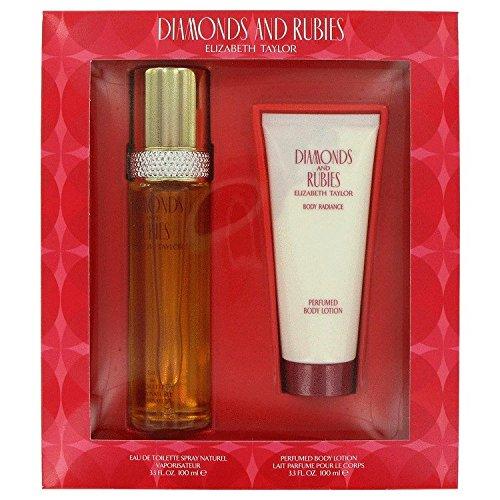 Diamonds & Rubies By Elizabeth Taylor Gift Set For Women Edt Spray 3.3 Oz & Body Lotion 3.3 Oz - Diamonds & Rubies Rose Perfume