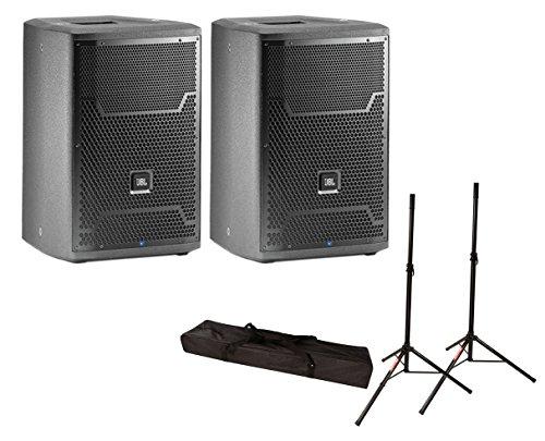 2x JBL PRX710 1500 Watt Active Monitor Powered Speaker + Stands w/ Bag