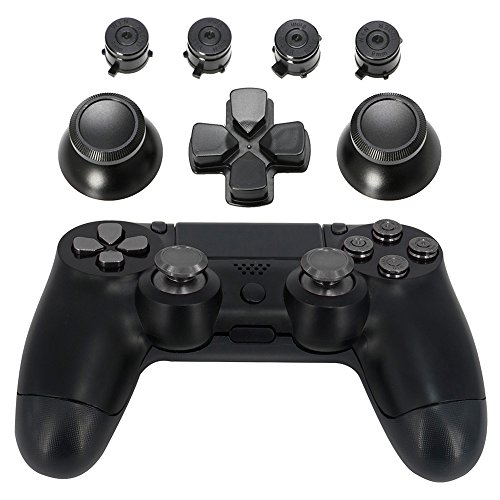 Jadebones Metal Thumbsticks Thumb Grip + Bullet Buttons + D-pad Replacements Kits for Sony PS4/ DualShock 4/PS4 Slim/PS4 Pro Controller (Black)