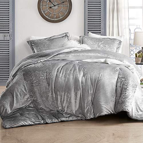 Byourbed Coma Inducer Oversized King Comforter - Velvet Crush - Champagne Alloy (Silver King Comforter Set)