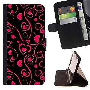 BullDog Case - FOR/Sony Xperia Z2 D6502 / - / black pink floral art minimalist design /- Monedero de cuero de la PU Llevar cubierta de la caja con el ID Credit Card Slots Flip funda de cuer