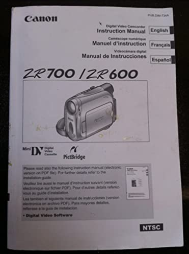 canon zr700 zr600 digital video camcorder instruction manual inc rh amazon com Canon ZR500 Accessories Canon ZR20