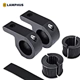 "LAMPHUS 2PC Off-Road LED Light Bar 0.75""/1""/1.25"" Horizontal Bar Clamp Mounting Kit [Rubber Teeth] [Aluminum] [Includes Hex Key] [For Bull Bars, Roof Racks, Roll Cages] For ATVs, UTVs, and Trucks"