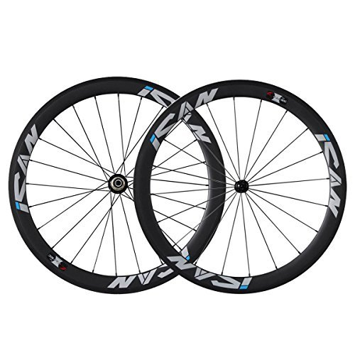 (ICAN 50mm 700C Carbon Wheels Road Bike Clincher Rim Shimano 10/11 Speed 1510g (Classic Wheelset))