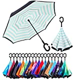 XIAOMOGU Creative Double Layer Inverted Umbrella Cars Reverse Umbrella, Windproof UV Protection Inverted Umbrella for Car Rain Outdoor Hands Free Handle with Carrying Bag