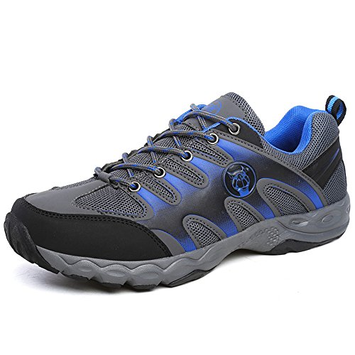 JEDVOO Zapatillas de Low Rise Senderismo para Hombre Azul Gris