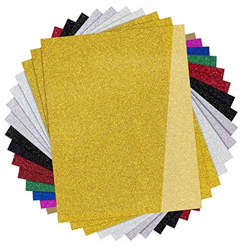 JANDJPACKAGING Glitter HTV Vinyl for T-Shirts,15 Pack - 12