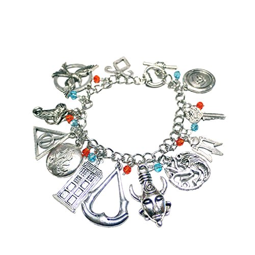 J&C Family Owned Assort Movie/Series 12 Logo Charms Toggle Clasp Bracelet w/Gift Box (Heart Toggle Puff)