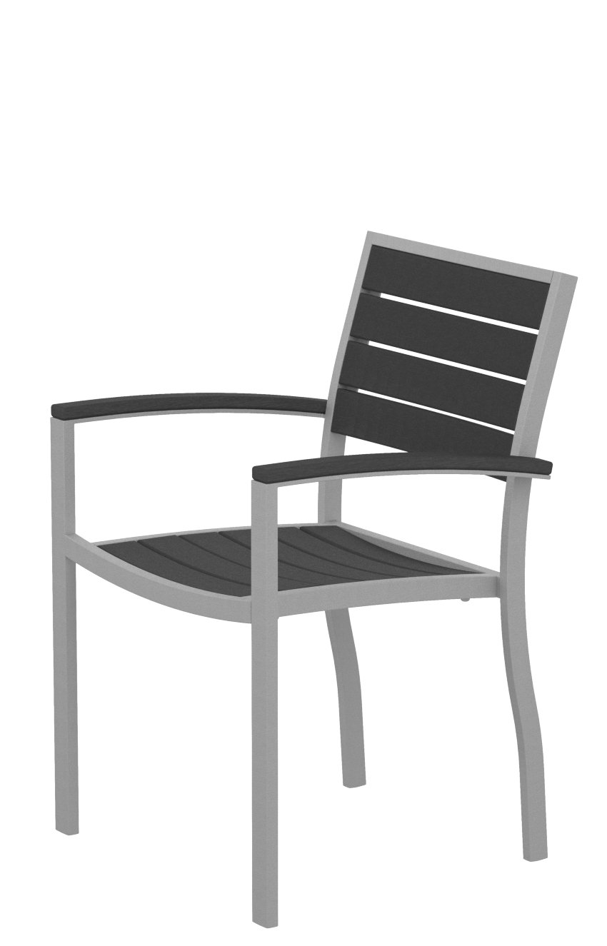 POLYWOOD A200FASGY Euro Dining Arm Chair, Textured Silver/Slate Grey - This modern dining chair has a spacious seat and comfortable arms and is constructed of a sturdy aluminum frame and fade-resistant POLYWOOD recycled lumber slats; pairs with the POLYWOOD Euro or MOD dining tables POLYWOOD recycled HDPE lumber has the look of painted wood without the upkeep real wood requires; requires no painting, staining, or waterproofing Heavy-duty construction withstands nature's elements; will not splinter, crack, chip, peel or rot and is resistant to stains, insects, fungi, and salt spray - patio-furniture, patio-chairs, patio - 51Nd12dESqL -