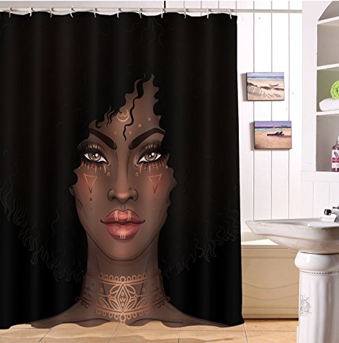 LB African Girl Shower Curtain,3D Printing African American Black Art Print Afro Shower Curtain Bathroom Set with Hooks,Waterproof Fabric 72x72 Inch