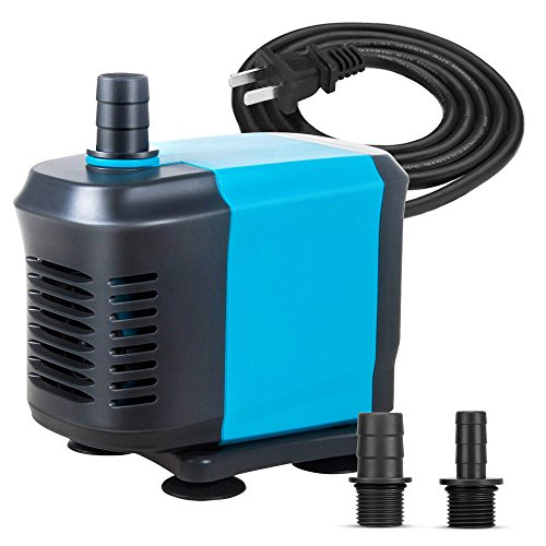 KEDSUM 660GPH Submersible Pump(3000L/H,55W), Ultra Quiet Water Pump with 6ft High Lift, Fountain Pump with 4.2ft Power Cord, 3 Nozzles for Fish Tank, Pond, Aquarium, Statuary, Hydroponics 660 Suction Cup