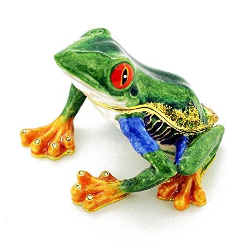 Frog Trinket Box Swarovski Crystals (Green Frog With Red Eyes Trinket Box with Swarovski Crystal)