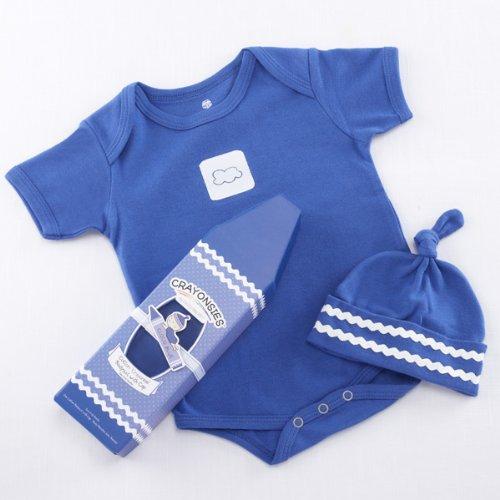 "Baby Aspen""Crayonsies"" 2 Piece Baby Gift Set, Cloud Blue"