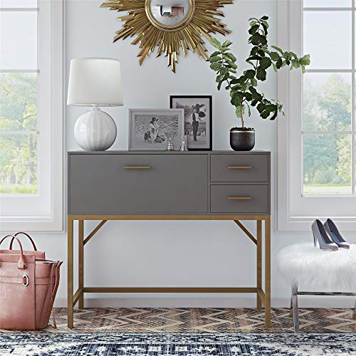 CosmoLiving Lennon Gray Storage Bar Console with Drop Leaf Desk, Gold Hardware and Sturdy Frame - Brass