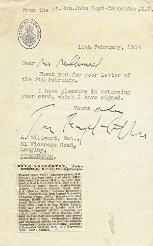 John Boyd carpenter Typed Letter Signed 12/12/1958