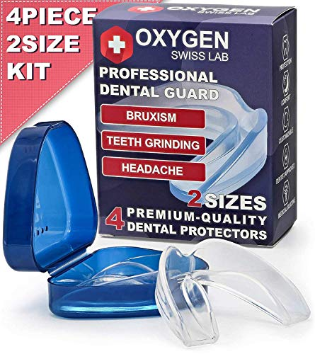 Oxygen Swiss Lab Professional Moldable Dental Guard For Teeth Grinding & Clenching, Bruxism, TMJ & Athletes – Set Of 4 Medical Silicone Mouth Night Guards In 2 Sizes With Anti-Bacterial - Bite Snoring