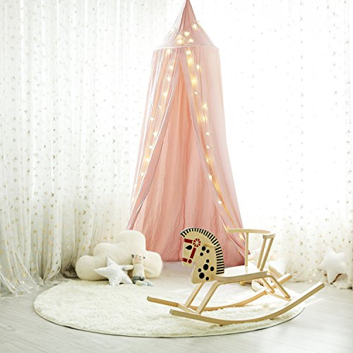 Samyoung Kids Bed Canopy Mosquito Net Witch Hat Style Round Dome Bed Canopy Screen Mantle Bed Curtain Tent Cotton Cloth Hanging Mosquito Net for Cotton Canvas¡§Pink With Small Star 50pcs Lights