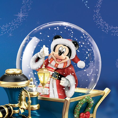 Disney Mickey Mouse Miniature Snowglobe: Santa Mouse Is Comin' To Town by The Bradford Exchange by Bradford Exchange (Image #1)