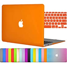 "Easygoby 2in1 Matte Frosted Silky-Smooth Soft-Touch Hard Shell Case Cover for 13-inch MacBook Air 13.3"" (Model:A1369 / A1466) + Keyboard Cover - Orange"