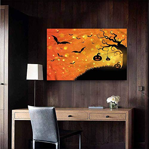 Gabriesl Waterproof Art Wall Paper Poster Halloween Fantasy Evil Night Icons Removable Kitchen Size : W28 x H20 -