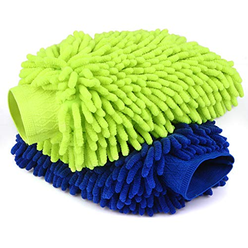 Car Wash Mitts- 2 Pack Extra Large Size - Winter Waterproof -Premium Chenille Microfiber Car Wash mitt - Lint Free - Scratch Free (Wash Mitts 2 Pack) (Wash Mitts 2 ()