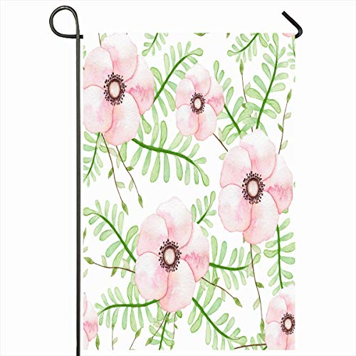 Ahawoso Garden Flag 12x18 Inches Green Bouquet Watercolor Garden Light Pink Flowers Leaves Nature Flora Floral Fragility Innocence Outdoor Decorative Seasonal Double Sided Home House Yard - Bouquet Innocence