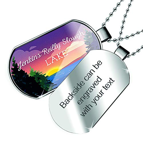 NEONBLOND Personalized Name Engraved Lake Retro Design Jenkins Reilly Slough Dogtag Necklace