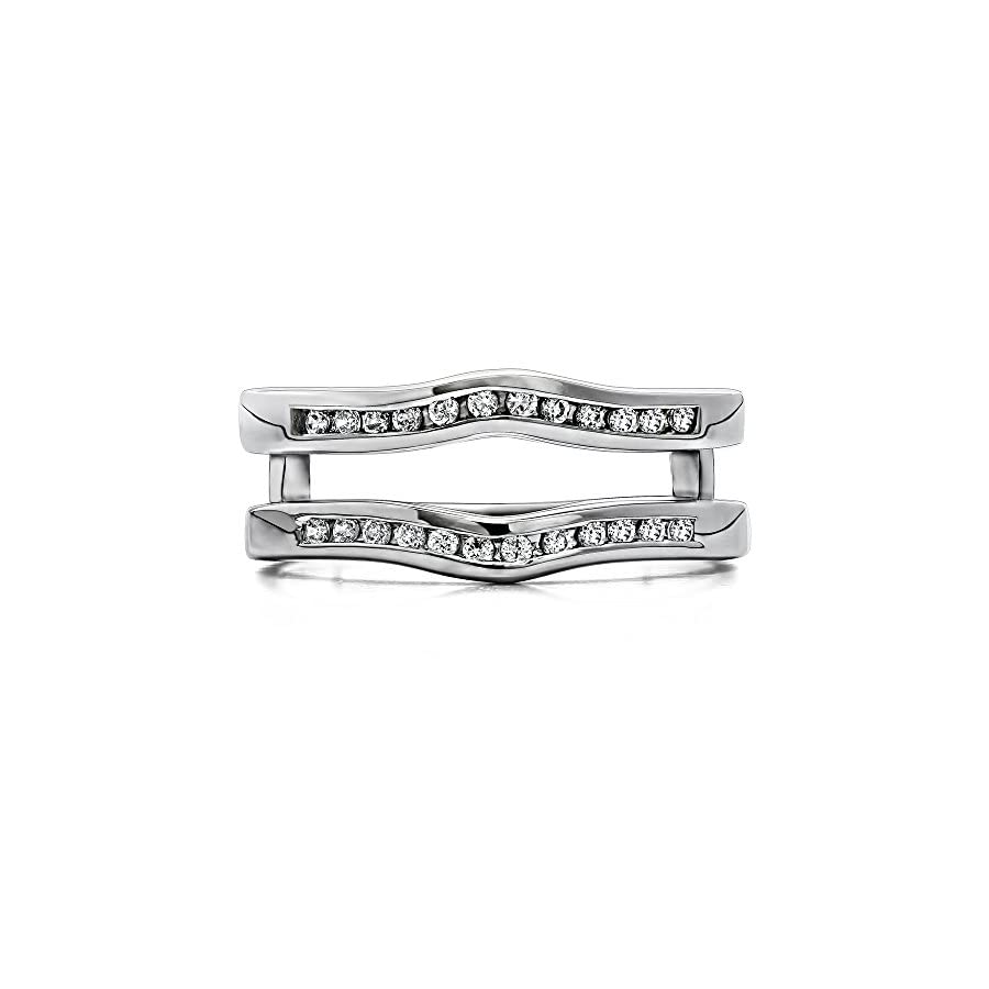 TwoBirch Sterling Silver Classic Curved Style Ring Guard Cubic Zirconia (0.1 ct. tw.)