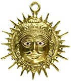 Exotic India VZF507 Embossed Brass Vastu Surya Wall Hanging, Yellow