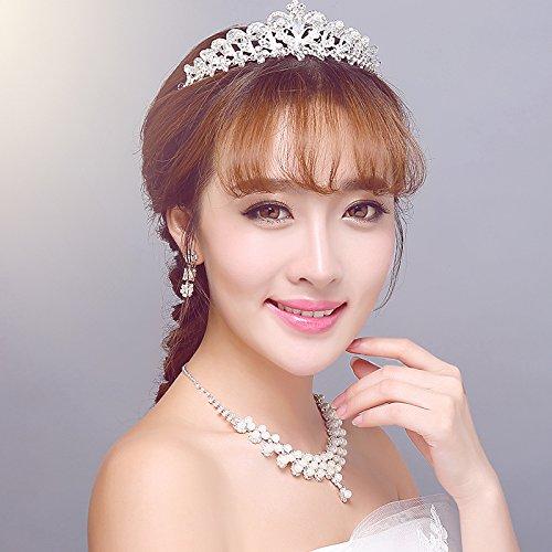 Generic Ferrara new bride headdress hair accessories Korean suit wedding jewelry crown tiara tiara necklace earring three-piece (Ferrara Dress)