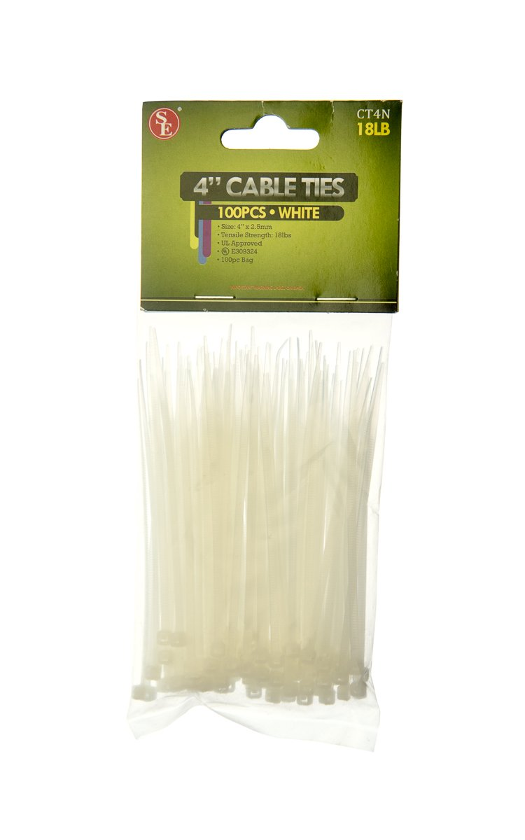 SE CT4N 4'' White Cable Ties with 18-lb. Tensile Strength (100 Count) by SE (Image #1)