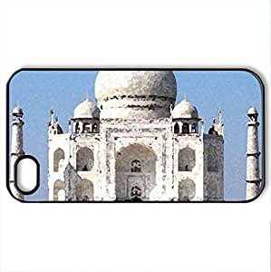 Taj Mahal - Case Cover for iPhone 4 and 4s (Monuments Series, Watercolor style, Black)