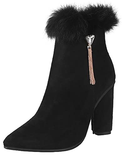 Women's Sexy Fluffy Faux Fur Splicing Fringes Side Zipper Ankle Booties pointed Toe Block High Heel Short Boots