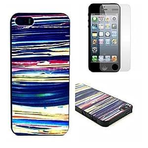 ZCL-Patrón de rayas de colores del estuche rígido con Clear Protector de pantalla para iPhone 5/5S