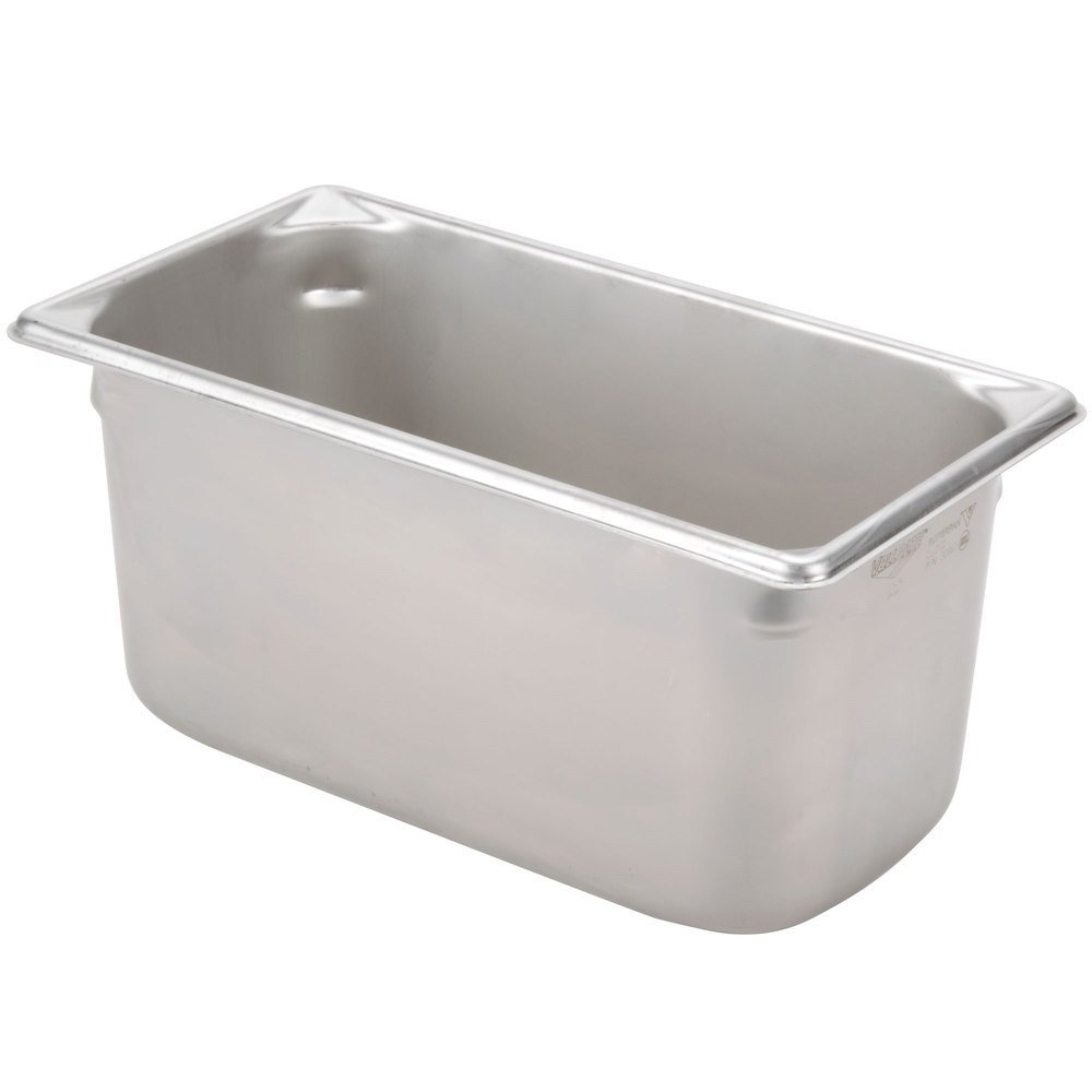 Vollrath 30362 Stainless Steel Super Pan V Steam Table Pan, 1/3 Size, 6.1-Quart