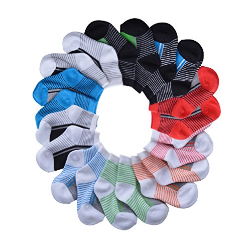 Barehugs Infant Boys All Weather No Show Socks - 10 Pack - Black Stripe / Dark Gray Stripe - 6 - 12 Months